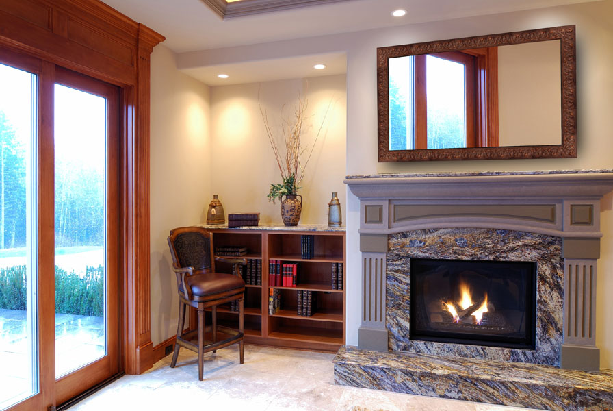 Gorgeous Study With Mirror Television Above Fireplace