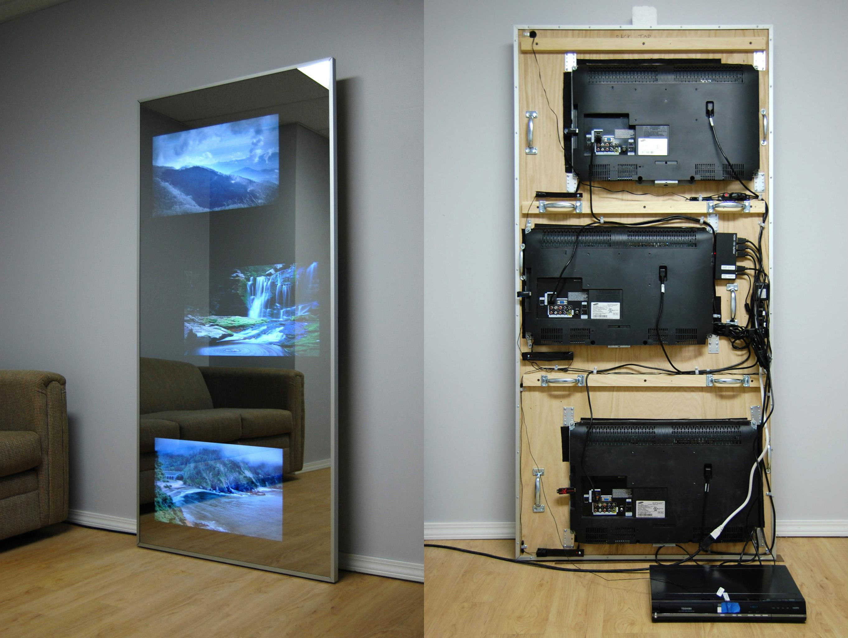 3 Tvs Built Into Dressing Mirror