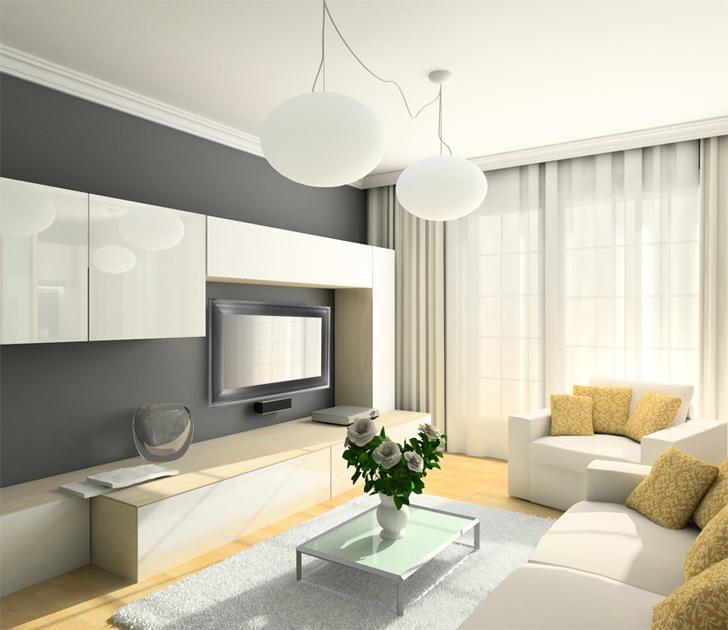 Futuristic Living Room Design With Mirror Television