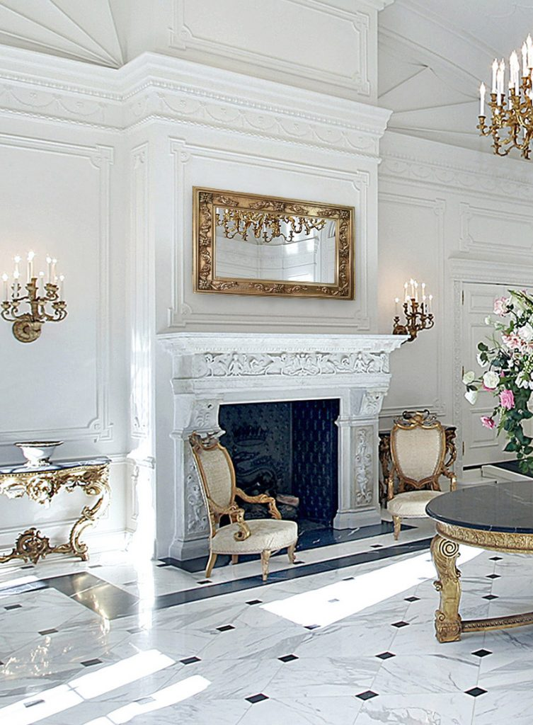 mirror television in luxury marble interior