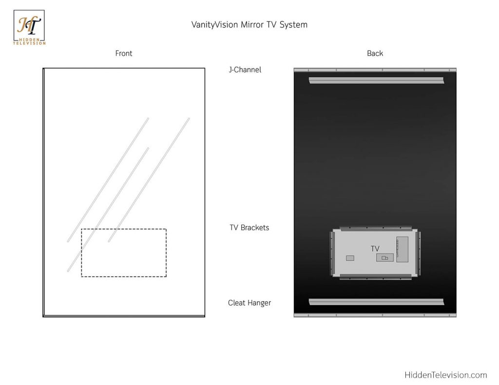 VanityVision Mirror TV Technical Drawing
