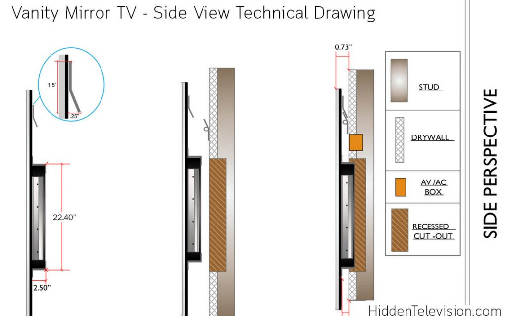 Vanity Mirror TV Side View Technical Drawing