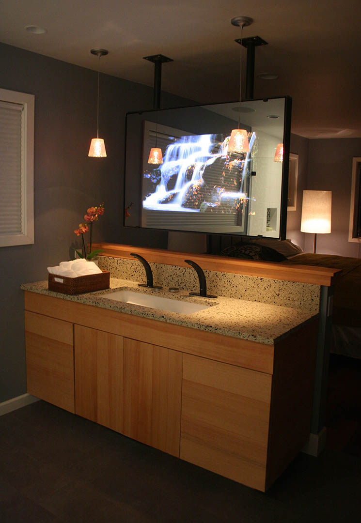 Vanity Mirror TV in Bath Crashers Hi-Tech Seattle Bath