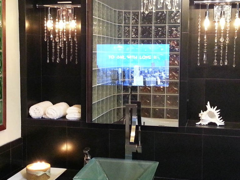 Vanity TV Mirror Installation In Luxury Bathroom
