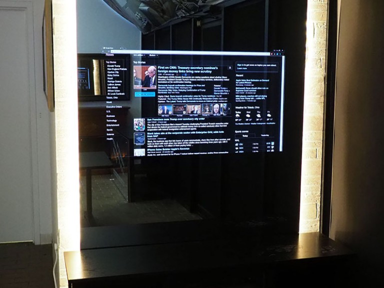 Smart Mirror in Hidden Television Showroom