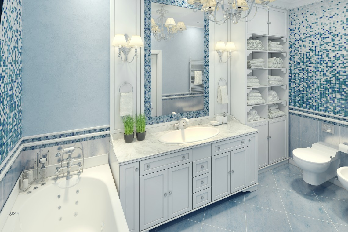 Mirror TV In Aqua Tile Bathroom
