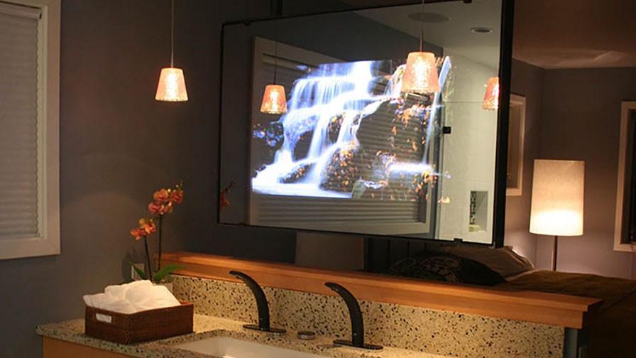 hidden television framed frameless dielectric mirror tv