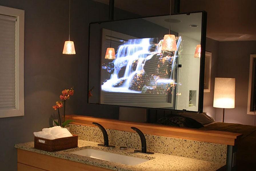 Vanity Mirror TV in Bath Crashers Hi-Tech Seattle Bath