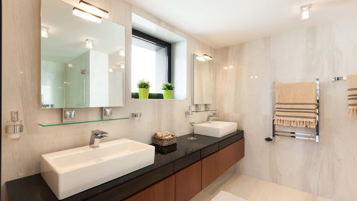 square-vanity-mirror-tv-marble-bathroom