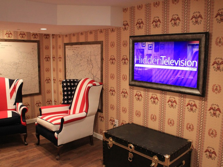 Framed Mirror TV in Man Caves Spy Cave